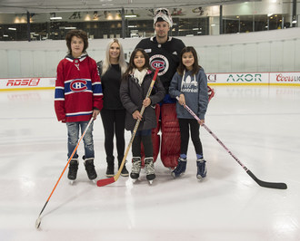 From left to right Lashawn, Angela Price, Arianna, Carey Price and Sireasha (CNW Group/Breakfast Club of Canada)