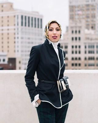 Haute Hijab Co-Founder & CEO Melanie Elturk modeling Haute Hijab.
