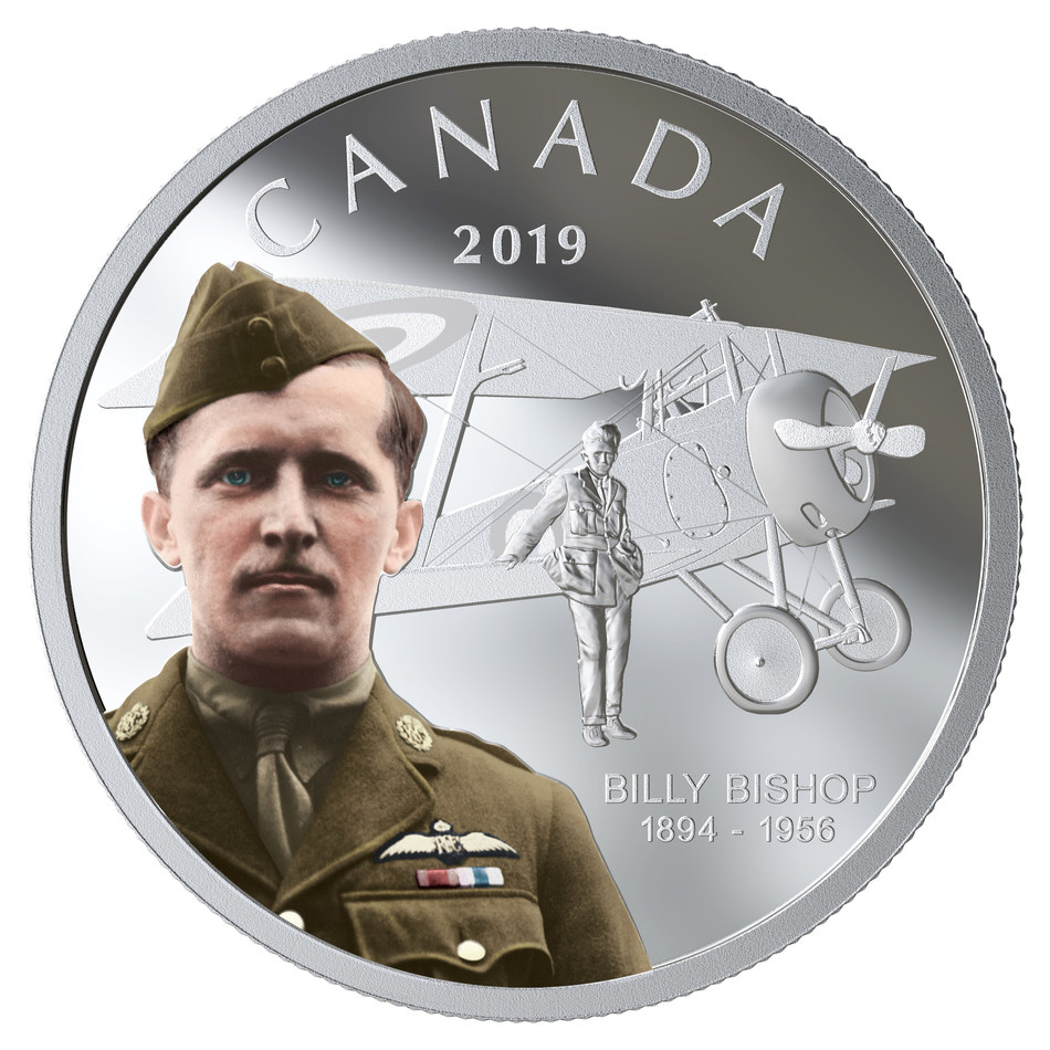 The Royal Canadian Mint's silver collector coin celebrating the 125th anniversary of the birth of Billy Bishop (CNW Group/Royal Canadian Mint)