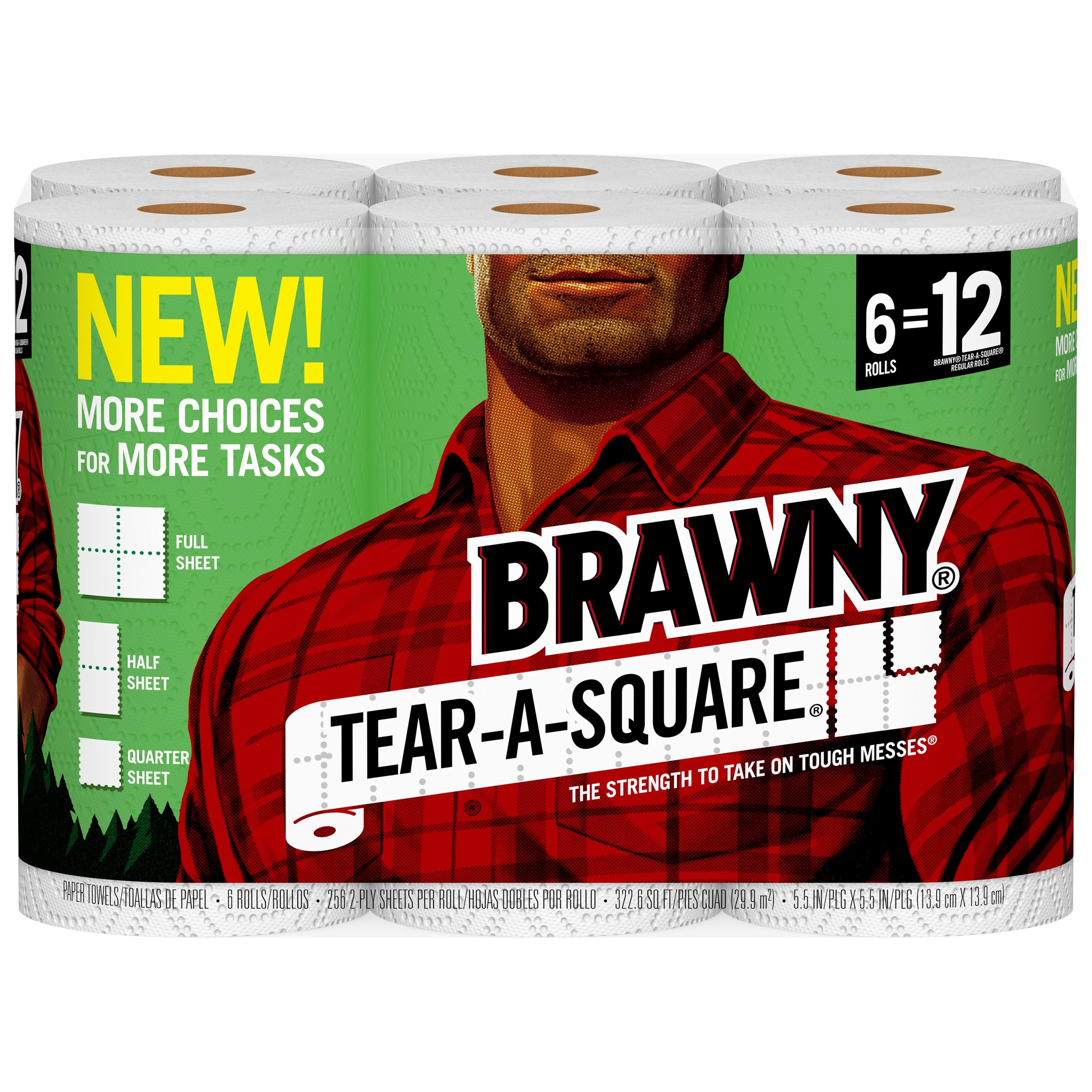 Featuring three sheet sizes on the same roll, Brawny® Tear-A-Square™ paper towels now offers multiple options to choose from--all featuring the same strength, durability and dependability that consumers expect from the Brawny® brand.
