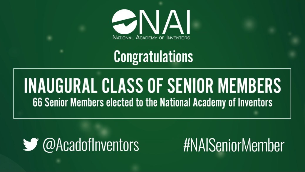 The National Academy of Inventors (NAI) has named 66 academic inventors to the inaugural class of NAI Senior Members.