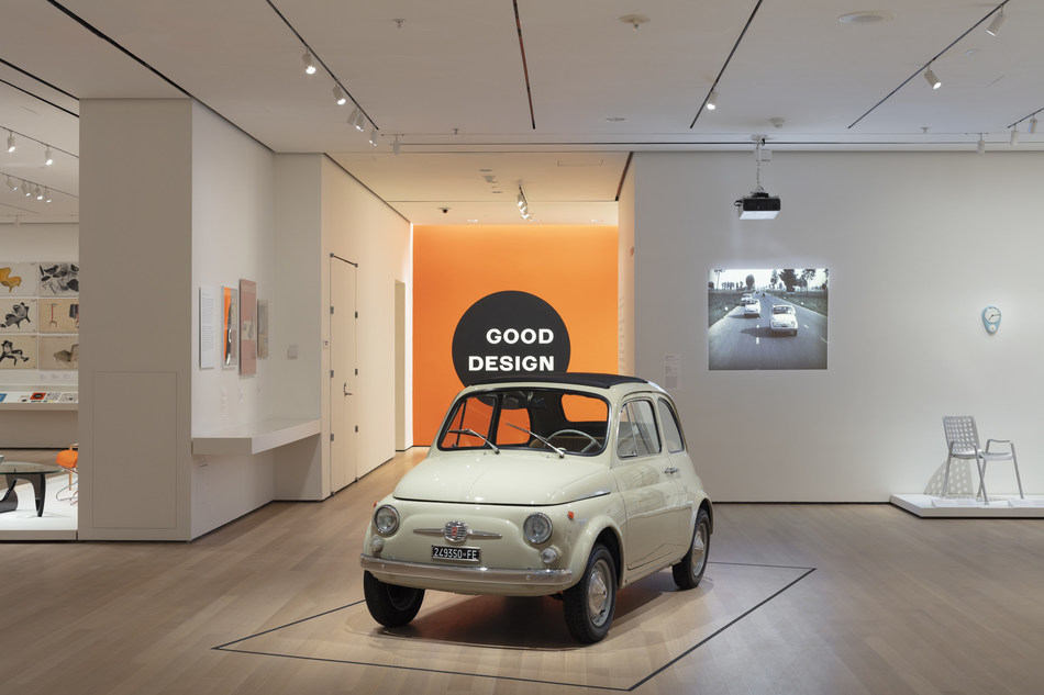 """The Fiat 500 Series F, acquired by the famous Museum of Modern Art in New York in 2017, was seen by the general public for the first time on Sunday February 10, 2019. The car will be on display in the """"The Value of Good Design"""" exhibition that tells the story of industrial design through the works of the collection of the MoMA running until June 15, 2019. Installation view, The Value of Good Design at The Museum of Modern Art, New York (February 10–June 15, 2019). Photo: John Wronn courtesy MoMA"""