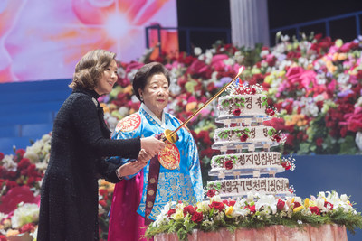 (Seorak, South Korea - February 10, 2019) Family Federation for World Peace and Unification (FFWPU) commemorates Reverend Sun Myung Moon's 99th birthday and Dr. Hak Ja Han Moon's (right) 76th birthday, seen here beside her daughter Sun Jin Moon, International President for FFWPU. (Photo credit: Graeme Carmichael)