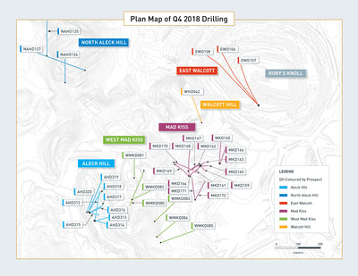 Plan Map of Q4 2018 Drilling (CNW Group/Guyana Goldfields Inc.)