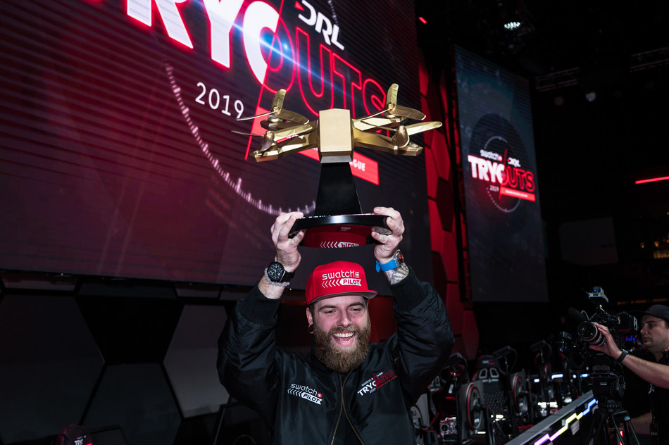 """2019 Swatch DRL Tryouts winner, Christopher """"Phluxy"""" Spangler, becomes official Swatch Pilot in The Drone Racing League's 2019 DRL Allianz World Championship Season."""