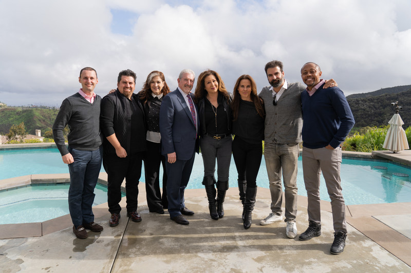 Left to right: Jeff DeMartino, Associate General Counsel, Entravision; Nestor Rocha, Vice President of Programing, Entravision, Carmen Cervantes, Manager for Kate del Castillo; Jeffery Liberman, President and Chief Operating Officer, Entravision; Jessica Maldonado; Kate del Castillo; Alex Garcia, Executive Vice President of Content & Business Development, Entravision; Walter Mosley, Attorney for Kate del Castillo and Jessica Maldonado.