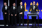 From right to left: Eric Dachs, PIX Founder and CEO accepts the AMPAS Sci-Tech Technical Achievement Award accompanied by the PIX System development team including Paul McReynolds, Erik Bielefeldt, and Craig Wood. (Courtesy of AMPAS)