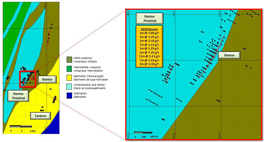 Figure 3. Location of Bantou and Bantou Proximal Drilling (CNW Group/SEMAFO)