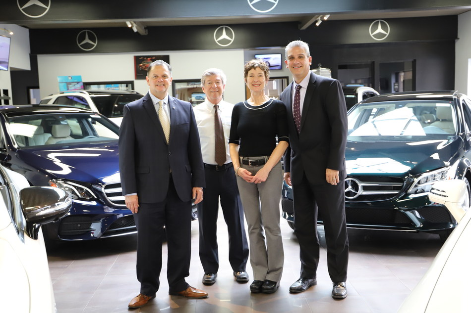 Mercedes-Benz of Goldens Bridge management team Tom Brennan, Walter Pensa, and Rey Baker featured with Clare Murray Executive Director of The Community Center of Northern Westchester.