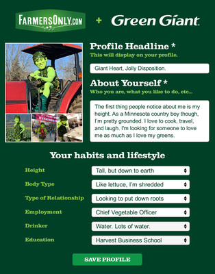 The Green Giant's dating profile on FarmersOnly.com