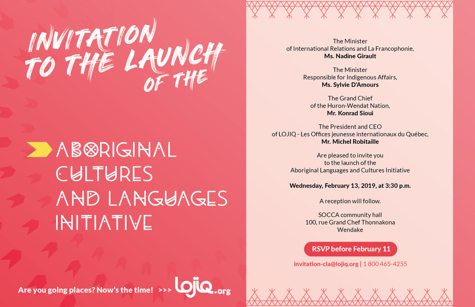 Invitation to the launch of the Aboriginal Cultures and Languages Initiative (CNW Group/Les Offices jeunesse internationaux du Québec)