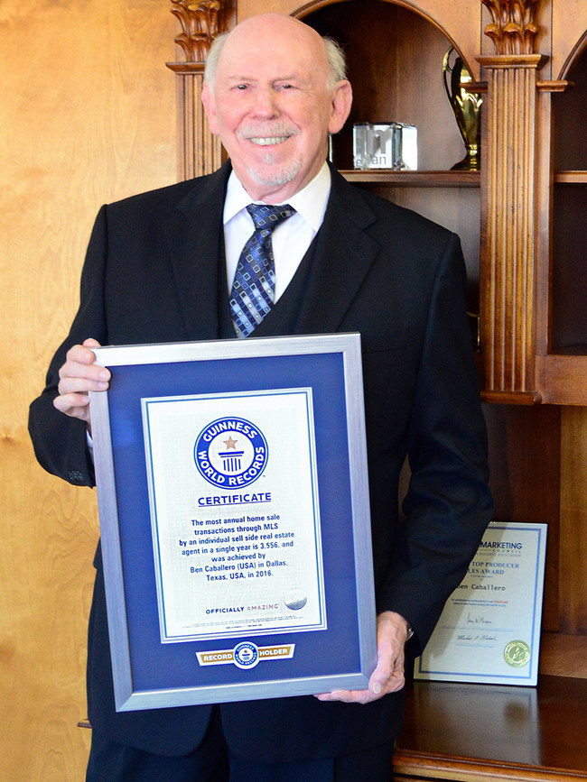 Ben Caballero, the first Guinness World Record holder for home sales, broke his world record for an individual real estate agent, selling 5,793 homes totaling $2,270,911,643 in a single year.
