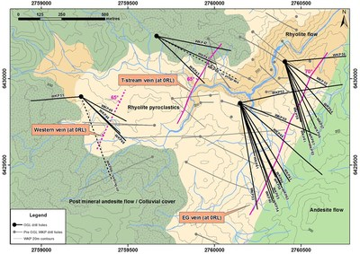 Figure 1: Plan View of geology and distribution of known veins at WKP (CNW Group/OceanaGold Corporation)