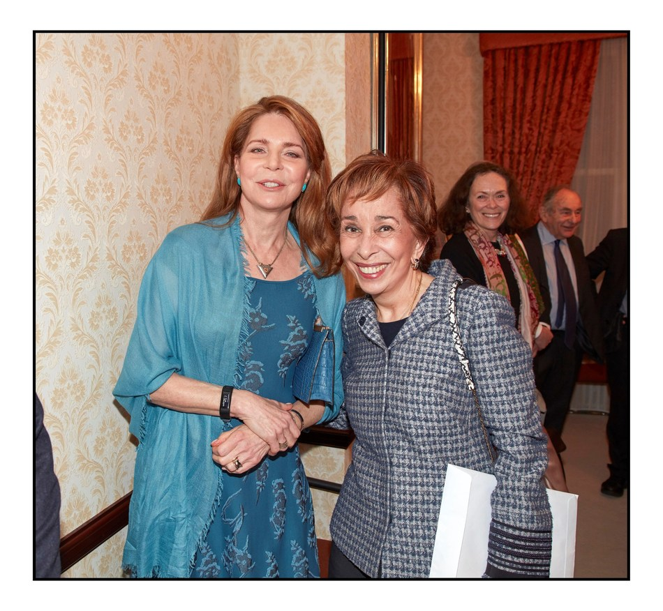 Her Majesty Queen Noor (left) and Her Royal Highness Princess Basma bint Talal, sister of King Hussein of Jordan, at Oxford University's memorial marking the 20th anniversary of the King's death.