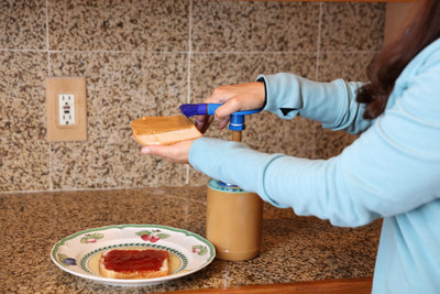 The Peanut Butter Pump is the perfect kitchen tool for making sandwiches, smoothies, snacks, etc., and is also great for measuring exact amounts for recipes without the need for a knife, spoon, or even having to remove the lid!