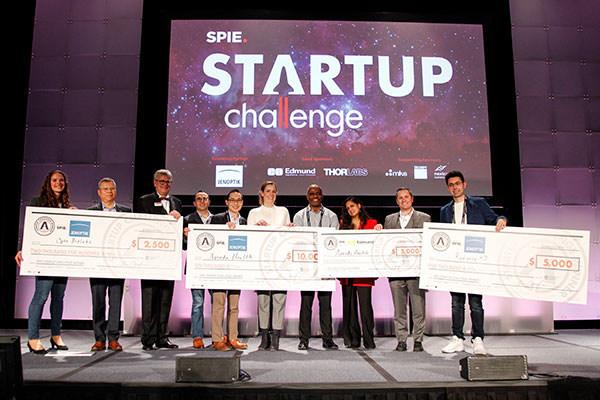 (L to R): Kathrin Brenker, Opto BioLabs (3rd place); Sean Wang, B&W Tek (judge); Jim Oschmann, SPIE President; Sam Rubin, Thorlabs (judge); Homan Yuen, Fusion Fund (judge); Brit Berry-Pusey, Avenda Health (1st place); Darius Sankey, Ocean Tomo China (judge); Sujatha Ramanujan, NextCorps & Luminate Accelerator (judge); Tim Kennedy, Edmund Optics (judge); Hossein Heidari, Radiance 4D (2nd place)