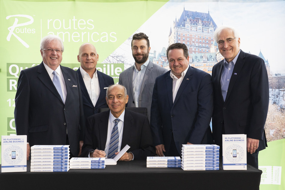From left to right:   Gaëtan Gagné, President & Chief Executive Officer, YQB Raymond Huot, Director, Airport Planning, YQB Nawal Taneja, Aviation Business Strategist, Executive-In-Residence, Fisher College of Business Thomas Brassard, Planner, Airport Planning, YQB Bernard Thiboutot, Vice President, Marketing and Development, YQB Richard Bureau, Senior Advisor, Management, YQB (CNW Group/Aéroport de Québec)
