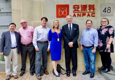 Multi-award winning reproductive cancer researcher and therapeutics pioneer, Dr. H. Michael Shepard, joined CEO Dr. Chris Yu, Anpac Bio's US Executive Team and fellow Technical Advisory Board (TAB) Members in Shanghai, China, inspecting Anpac Bio's breakthrough, Cancer Differentiation Analysis #LiquidBiopsy technology research. Pictured left-to-right: CEO Dr. Chris Yu, TAB Dr. H. Michael Shepard, CFO Mark Luhdorff, CMO Drisha Leggitt, TAB Dr. John Reddington, TAB Dr. Lee Shulman & VP Sherry Yu.