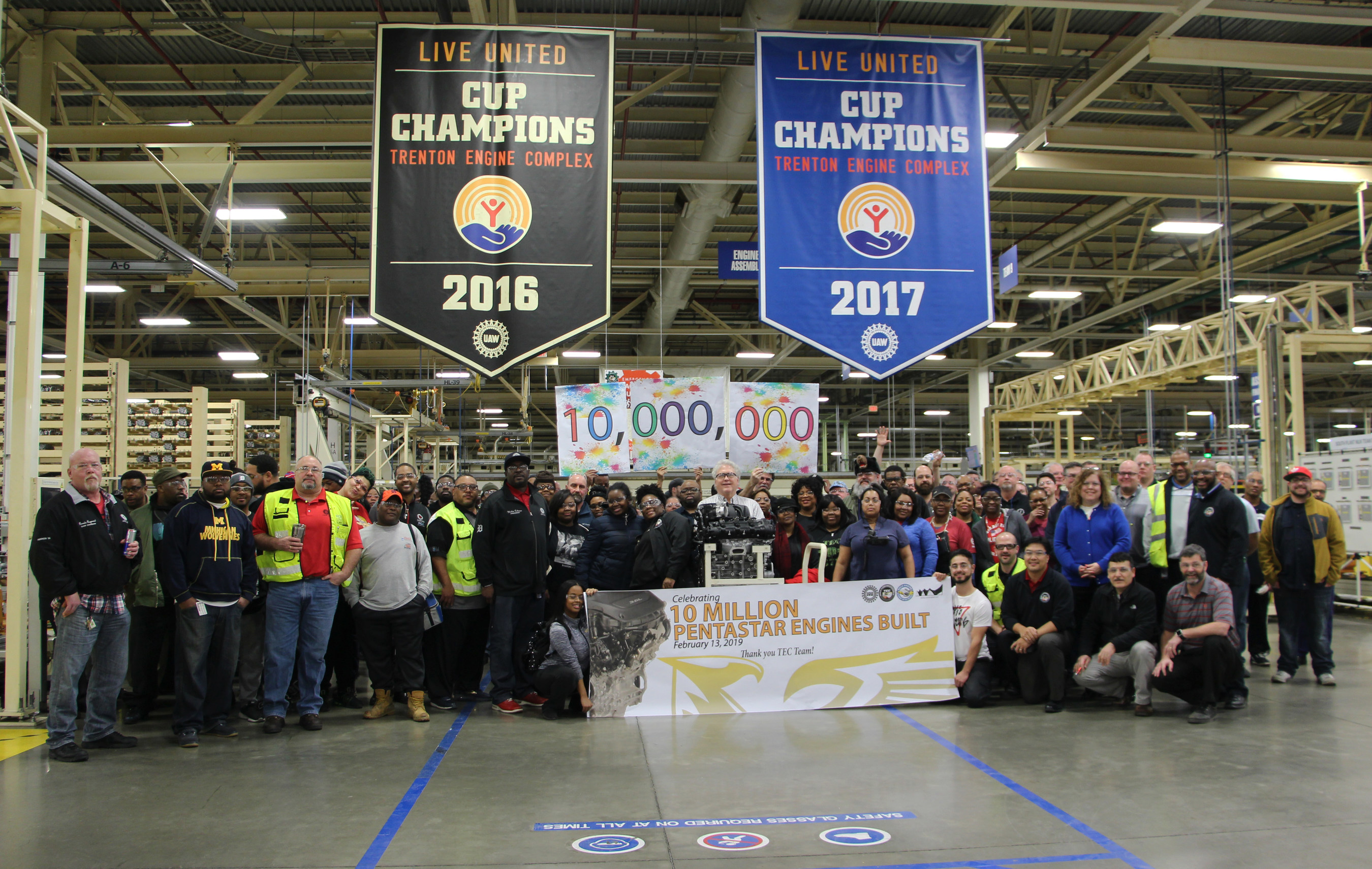 FCA US employees mark production of 10-millionth Pentastar engine in Trenton, Mich.