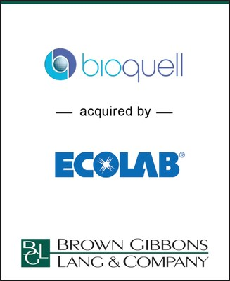 BGL is pleased to announce its representation of Bioquell PLC (LSE: BQE) in its sale to Ecolab Inc. (NYSE: ECL). BGL's Healthcare & Life Sciences team served as the exclusive financial advisor to Bioquell in the transaction.
