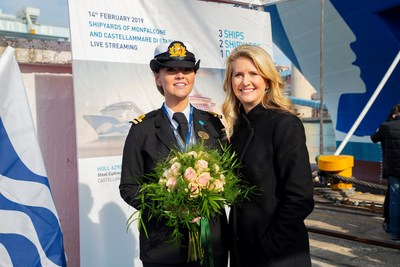 Sky Princess Madrina and Princess Cruises 2nd Officer Ms. Kerry Ann Wright and Princess Cruises President Jan Swartz at special ceremony at the Fincantieri shipyard in Monfalcone, Italy.