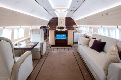 The interior of Jet Aviation's newest BBJ1, based in Western Europe and available for charter.