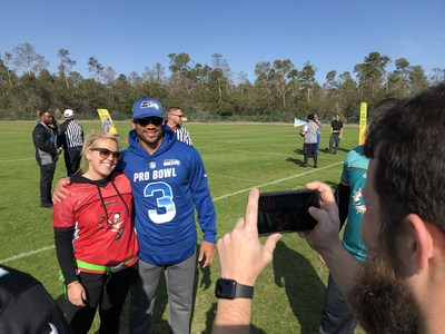 NFL stars like Russell Wilson spent time with wounded veterans and families during a recent Wounded Warrior Project flag football game during NFL Pro Bowl weekend. Events like this help connect wounded veterans with other warriors and with his or her community.
