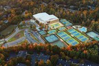 Drone shot of Life Time Peachtree Corners and its numerous outdoor tennis courts