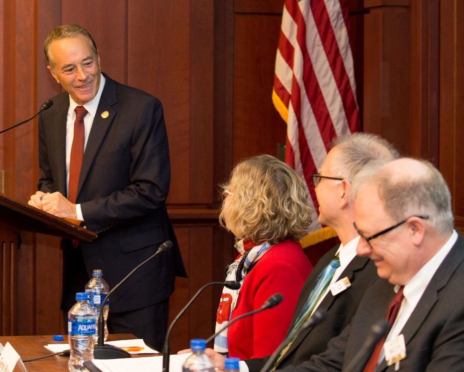 Energy storage means energy independence says New York Rep. Chris Collins to an expert panel and attendees during a February 12 National Battery Day briefing on Capitol Hill.