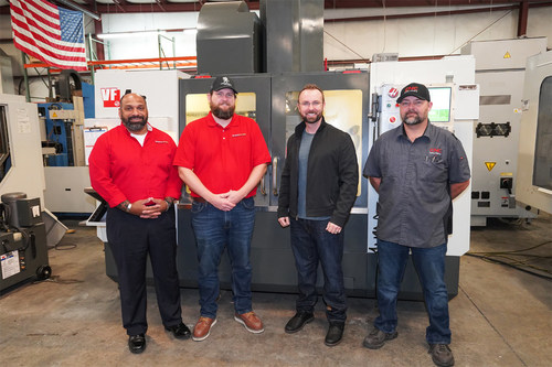 From left to right it is Joe Lamberty Assitant Director at Advanced Manufacturing Training Center, Kevin Bruffet Our Veteran Scholarship Recipient, Curt Doherty our CEO and our lead tech and Army Vet David Wilkes