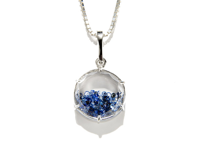 Radiate wisdom with these winter blue gems. This sapphire shaker pendant manifests the eternal pursuit for beauty and enlightenment and dangles from an expertly woven white gold chain.