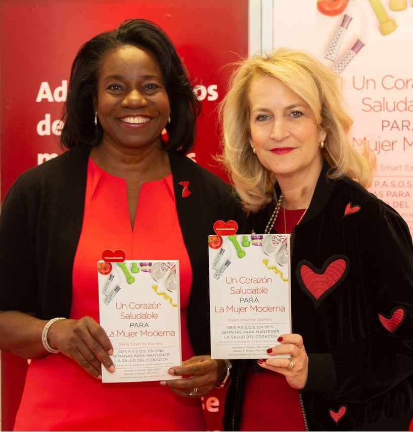 New York, NY | February 14th, 2019. Authors Dr. Jennifer H. Mieres and Dr. Stacey E. Rosen pictured holding their book Un Corazón Saludable para La Mujer Moderna during the launch event.