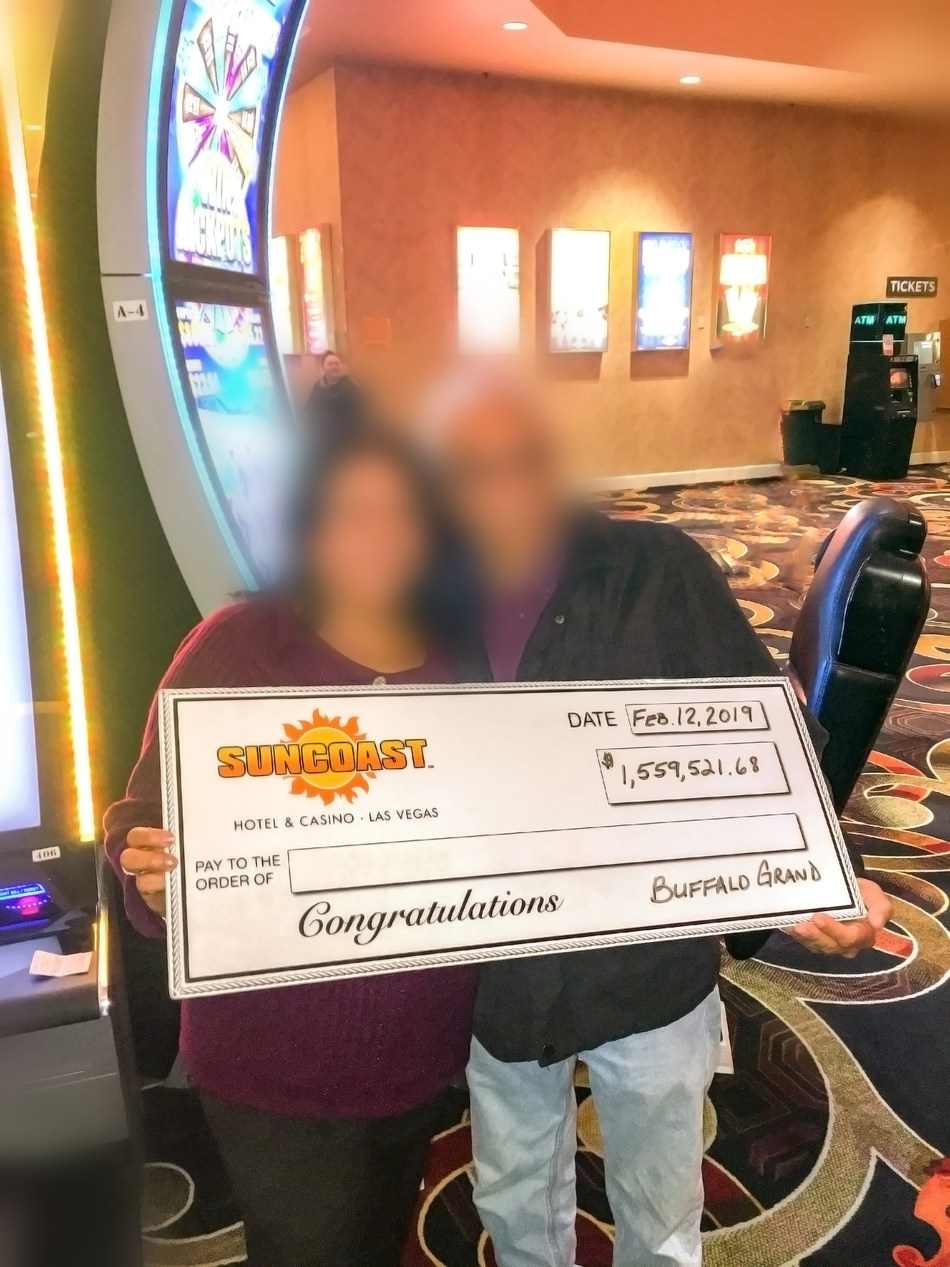 A Las Vegas Valley local won $1,559,521.68 playing Aristocrat's Buffalo Grand™ slot game at Boyd Gaming's Suncoast Hotel & Casino on Tuesday, Feb. 12.