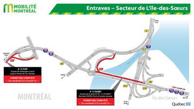 Entraves - Secteur de L'île-des-Soeurs (Groupe CNW/Ministère des Transports)