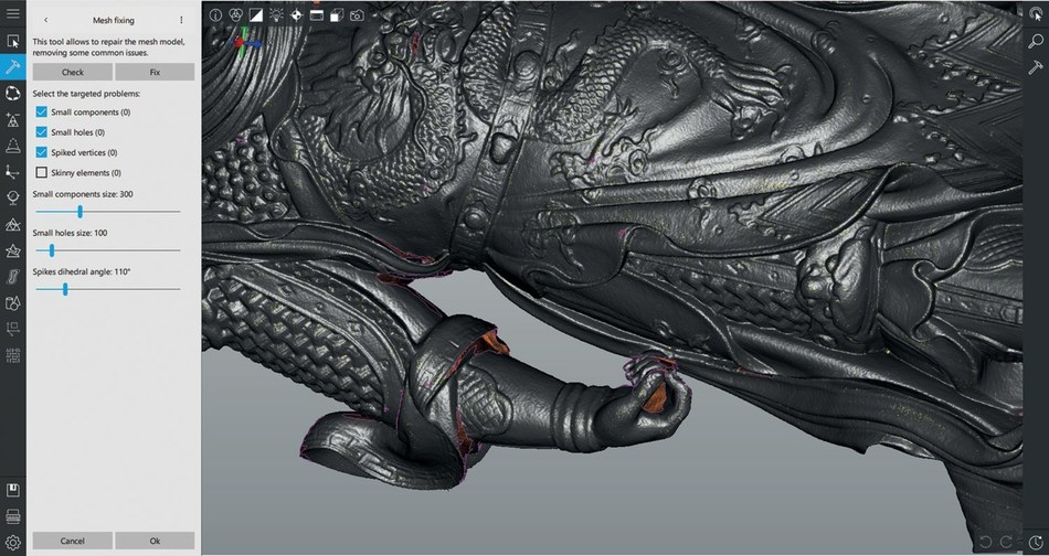 Put the final touch on the mesh model using the quick check and fix selection tool for refinement.