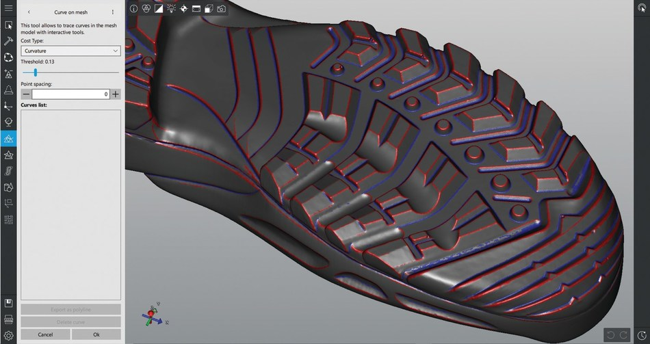 Simply select and extract curves from a mesh using the easy to find icon tools.