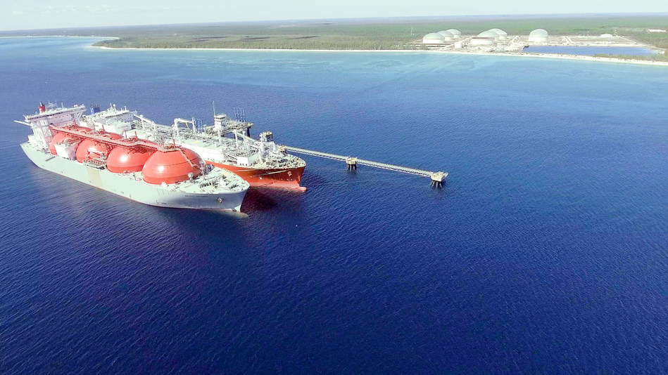 Excelerate's FSRU Exemplar and Equinor's LNG carrier Arctic Voyager performing the first STS transfer of LNG in The Bahamas at Equinor's South Riding Point storage and transshipment terminal.