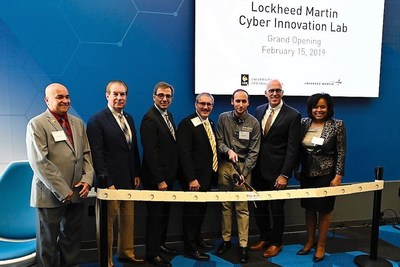 Lockheed Martin and the University of Central Florida (UCF) opened the new Cyber Innovation Lab. L to R: John Cortez, Florida Representative; Tom Wright, Florida State Senator; Michael Georgiopoulis, Dean, College of Engineering and Computer Science; Frank St. John, Executive Vice President, Lockheed Martin; David Maria, President, Hack@UCF; Thad Seymour, Vice President, Partnerships, UCF; Stephanie Hill, Deputy Executive Vice President, Lockheed Martin.
