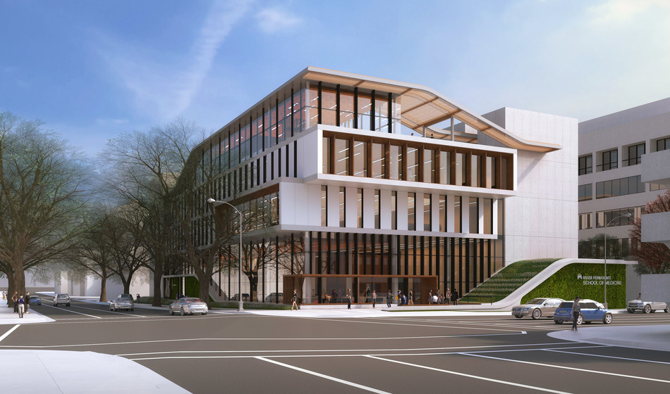 Artist's rendering of the new Kaiser Permanente School of Medicine, now under construction in Pasadena, California