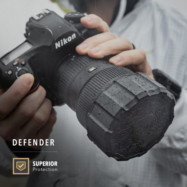 The Defender was designed to protect the front element of the lens from dirt, moisture and minor collisions while stowed away during transit.