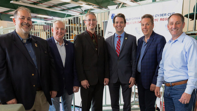 (From Left to Right) Marcus Geissler (Deputy Sector Navigator California Community Colleges ICT/DM), Keith Tresh (Commander of California Cyber Security Integration Center), Sean McNally (Elk Grove Teacher and Air Force Association's CyberPatriot Teacher of the Year for California in 2014 and 2015), Kevin Kiley(California Assemblymember), Scott Young (Director of California Cyberhub) show support of the 2018 California Mayors Cyber Cup in Sacramento, CA.