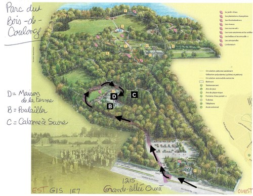 """1. Enter the park. 2. Keep straight in the public parking lot and follow the """"Welcome to the sugar shack"""" sign. 3. Meet at the farmhouse (D on the map). (CNW Group/Producteurs et productrices acéricoles du Québec)"""