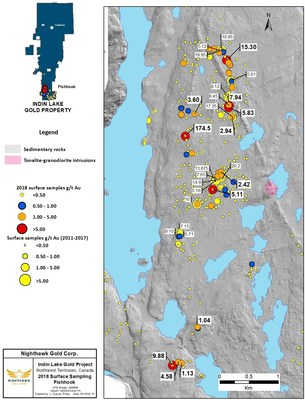 Figure 8. Fishhook Location Map and Select Surface Sample Results (CNW Group/Nighthawk Gold Corp.)