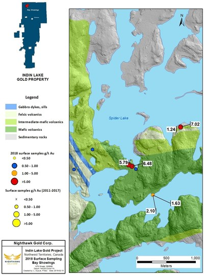 Figure 6. Bay Showings Location Map and Select Surface Sample Results (CNW Group/Nighthawk Gold Corp.)