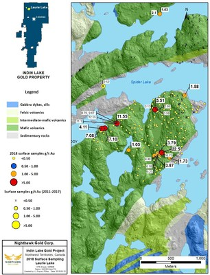 Figure 5. Laurie Lake Location Map and Select Surface Sample Results (CNW Group/Nighthawk Gold Corp.)