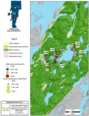 Figure 4. Andy Lake Location Map and Select Surface Sample Results (CNW Group/Nighthawk Gold Corp.)