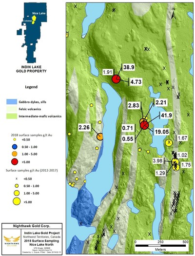 Figure 3. Nice Lake North Sample Location Map and Select Surface Sample Results (CNW Group/Nighthawk Gold Corp.)