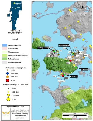 Figure 2. Treasure Island Sample Location Map and Select Surface Sample Results (CNW Group/Nighthawk Gold Corp.)
