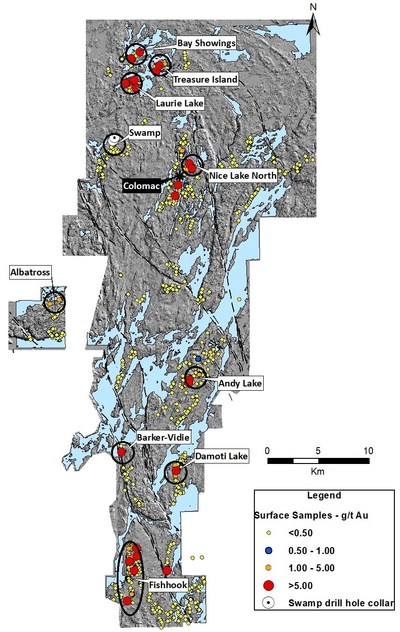 Figure 1. Indin Lake Gold Property – 2018 Field Program Top Prospects (CNW Group/Nighthawk Gold Corp.)
