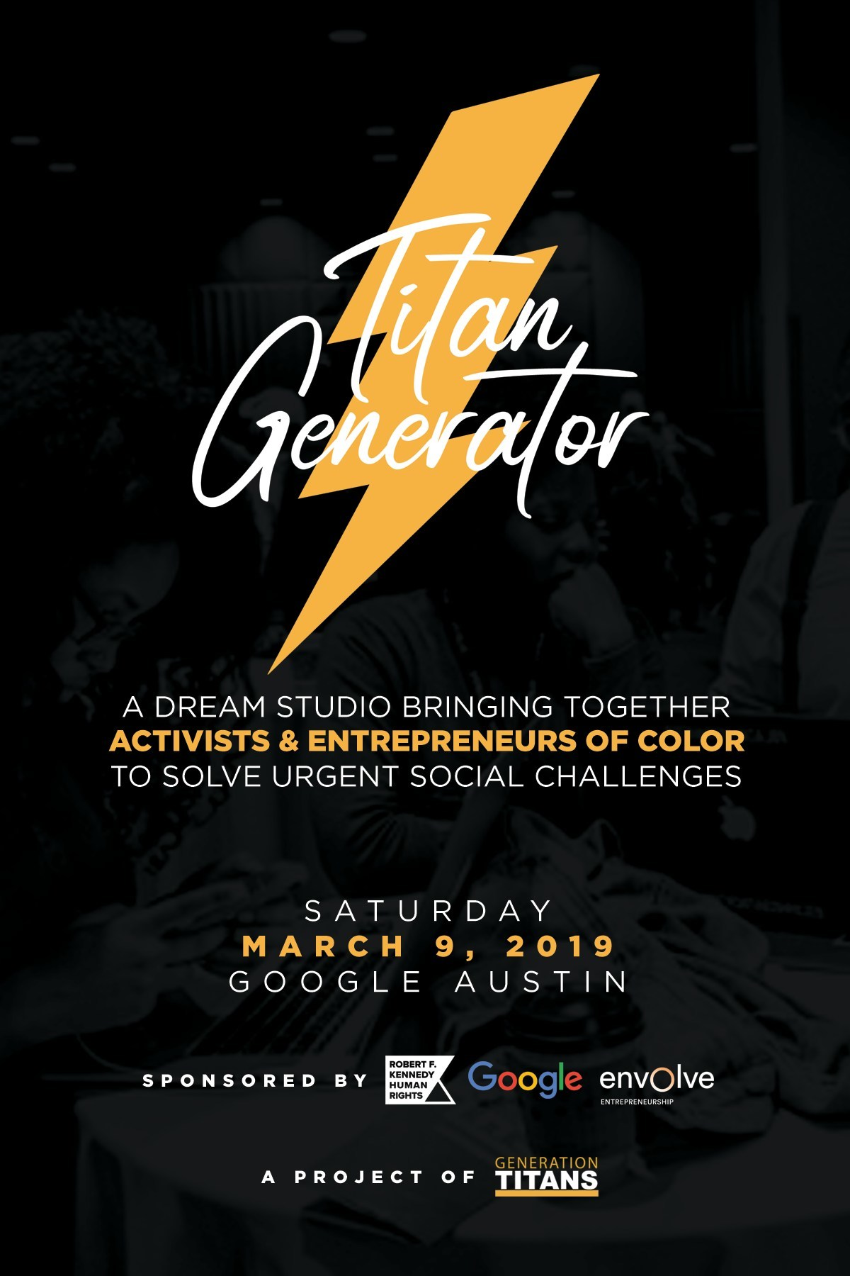 The Titan Generator event will take place on Saturday March 9 at Google Austin (PRNewsfoto/Generation Titans)